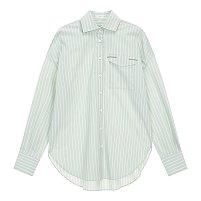 스트라이프 플랩 포켓 셔츠