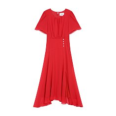 CHIFFON SHIRRING DRESS - RED