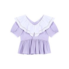 V-NECK RUFFLE BLOUSE - PURPLE
