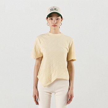 Oblique Line T-Shirt Yellow