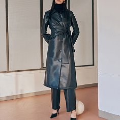 Knotted detail faux leather coat
