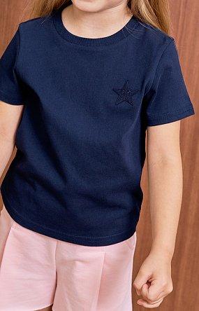 베이직 로고 반팔 티셔츠 - 네이비