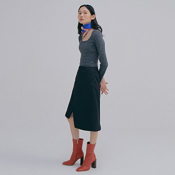 Wool Square neck T_Charcoal