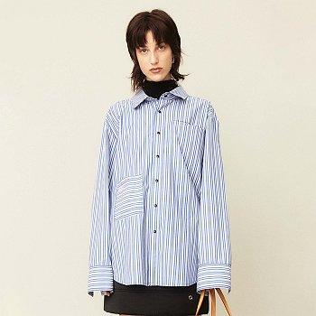 Stripe Oversized Shirt Blue