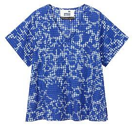 [Mii Collection] 체크 패턴 브이넥 블라우스