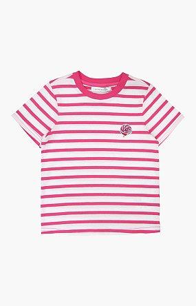 캔디 스트라이프 반팔 티셔츠 - 핑크