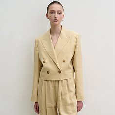 Cropped double breasted jacket (gold)