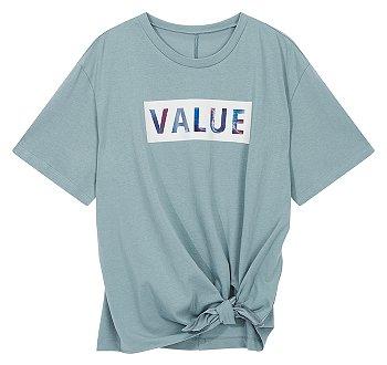 언발 절개 숏 슬리브 티셔츠