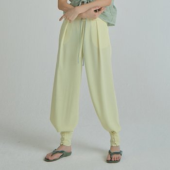 Flap Button Pants / Light Yellow