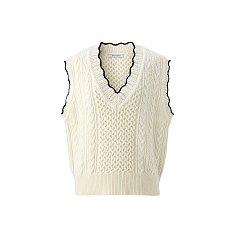 Wave cable knit vest - Ivory