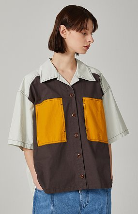 컬러블럭 하프슬리브 셔츠