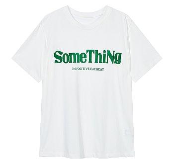 레터링 그래픽 크루넥 티셔츠
