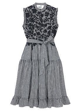 [Mii Collection] 체크 패턴 슬리브리스 원피스
