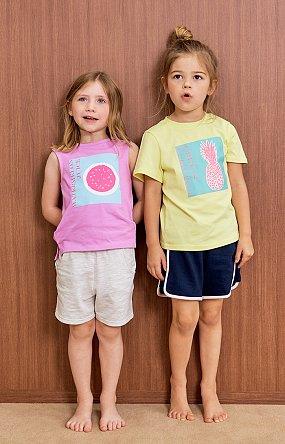 파인애플 프린트 반팔 티셔츠 - 옐로우