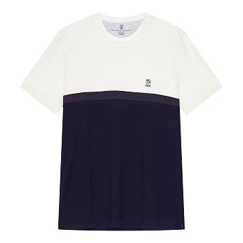 하프 배색 크루넥 티셔츠