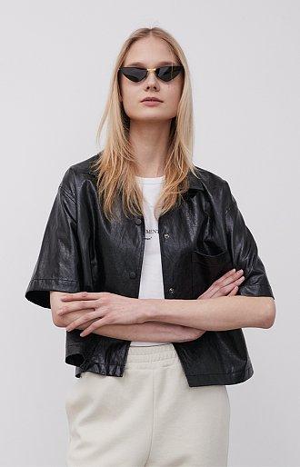 [카인다쿨 착용] 페이크 레더 크롭 셔츠 재킷