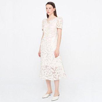 [6월 3주차 순차발송] Puff Sleeve Shirring Dress_Ivory
