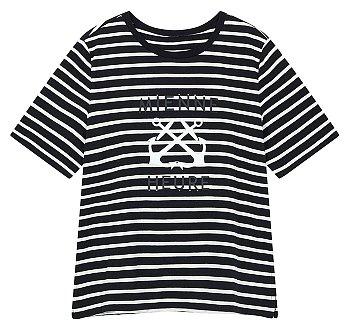 스트라이프 슬릿 그래픽 티셔츠