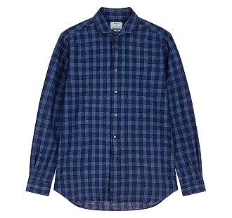 [BAGUTTA]바구따 체크 패턴드 슬림핏 셔츠