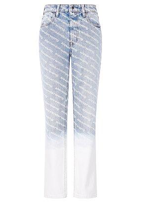 슬림 핏 로고 패턴 데님 팬츠