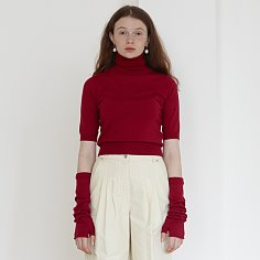 [BC20AWKN09-1]HAND WARMER SHORT SLEEVE KNIT TOP[RED]