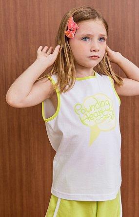 파운딩하트 네온라인 민소매 티셔츠 - 그린