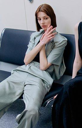 ★김수미 착용★ 크리즈 밴딩 와이드팬츠