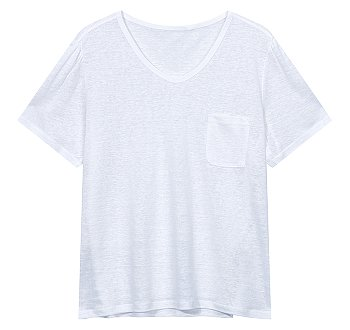 퍼프 숏 슬리브 린넨 티셔츠