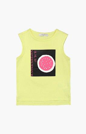 워터멜론 주스 프린트 민소매 티셔츠 - 옐로우