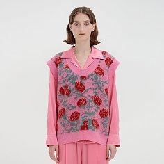 [조윤희 착용] QQ Floral Patterned Oversized Knit Vest - Pink Multi