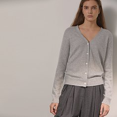 DEMERE CASHMERE 100 CARDIGAN (GRAY)