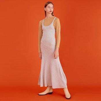 Sleeveless Knit Dress_Silver