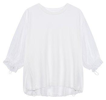 드로스트링 배색 티셔츠
