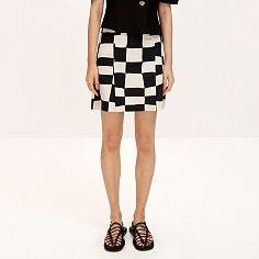 Checkerboard Linen Skirt