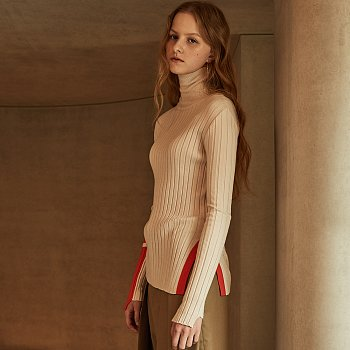 PIET Contrast-Cuffs Turtle Neck Knit_Ivory