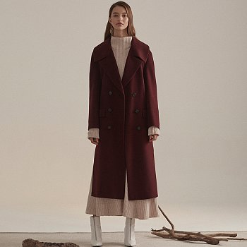 [김설희 착용] Daian Cashmere blend Wool Coat_Burgundy