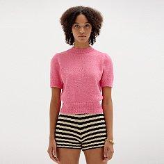SORA Short Sleeve Knit Top - Pink