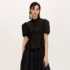 Side Open Puff-sleeve Blouse_Black