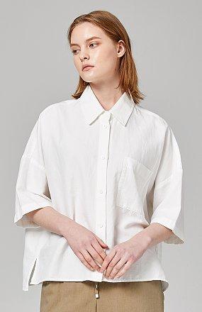 코튼린넨 하프셔츠