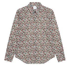 플로럴 패턴 슈퍼 슬림 핏 셔츠