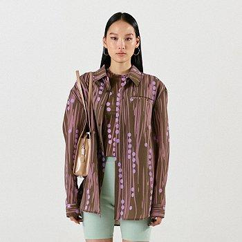 Signature Dot Print Oversized Shirt Brown