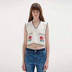 SITA Floral-Jacquard Short Knit Vest - Ivory