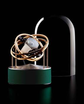 BERNARD FAVRE Planet Double-Axis Gold, Silver & Green leather Ref. 992960