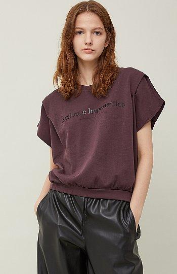 턱 디테일 배색 밴딩 티셔츠