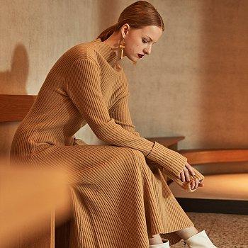 MONET Merino Wool Long Knit Dress_Camel