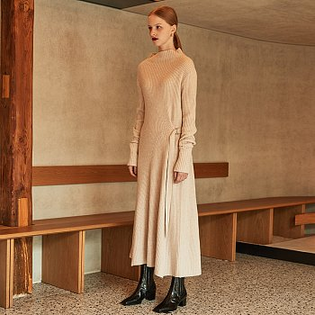 MONET Cashmere Long Knit Dress_Ecru Beige