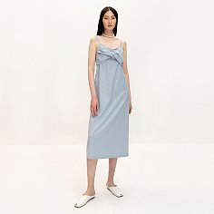 Knotted Linen Dress_Light Blue