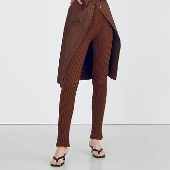 Slim Knit Pants_Brown