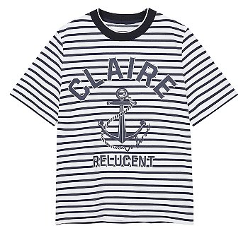 앵커 프린트 스트라이프 티셔츠