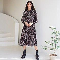 GINA SHIRRING DRESS, BLACK
